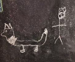 Chalk drawing of Sirius by grandson of owner